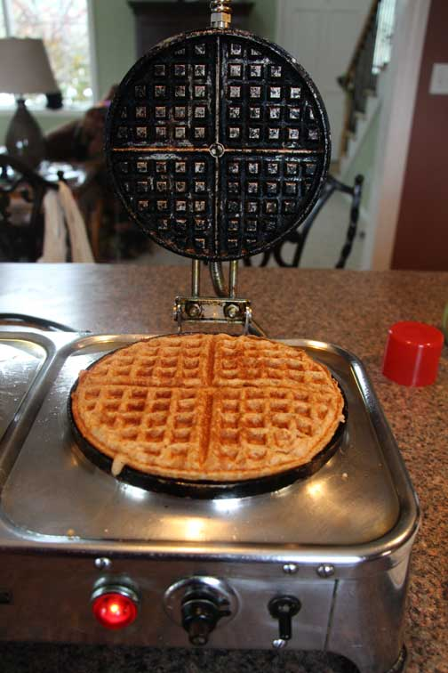 Whole wheat waffle in industrial waffle iron
