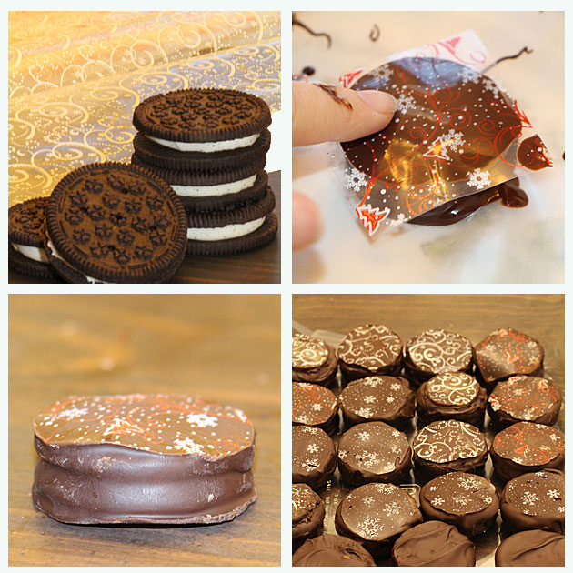 Decorating sandwich cookies with chocolate transfer sheets
