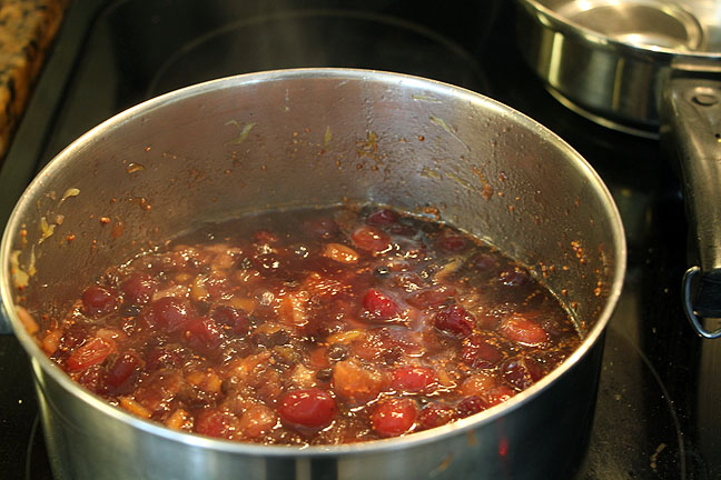 Cooking orange cranberry chutney