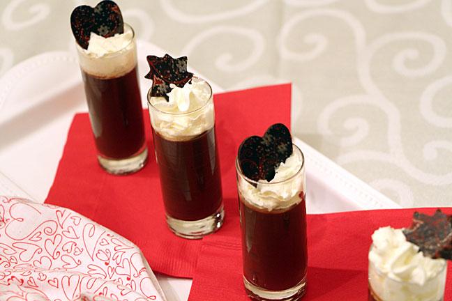 Chocolate transfer sheet decoration topped dessert