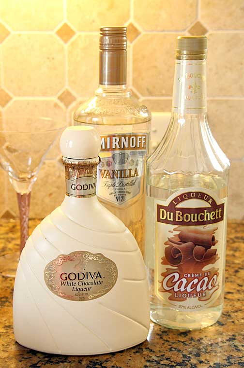 Ingredients for White Chocolate Strawberry Martini