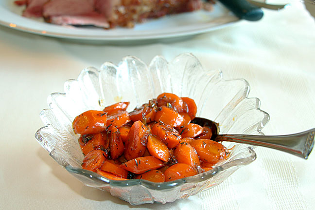 Maple Balsamic Glazed Carrots, served