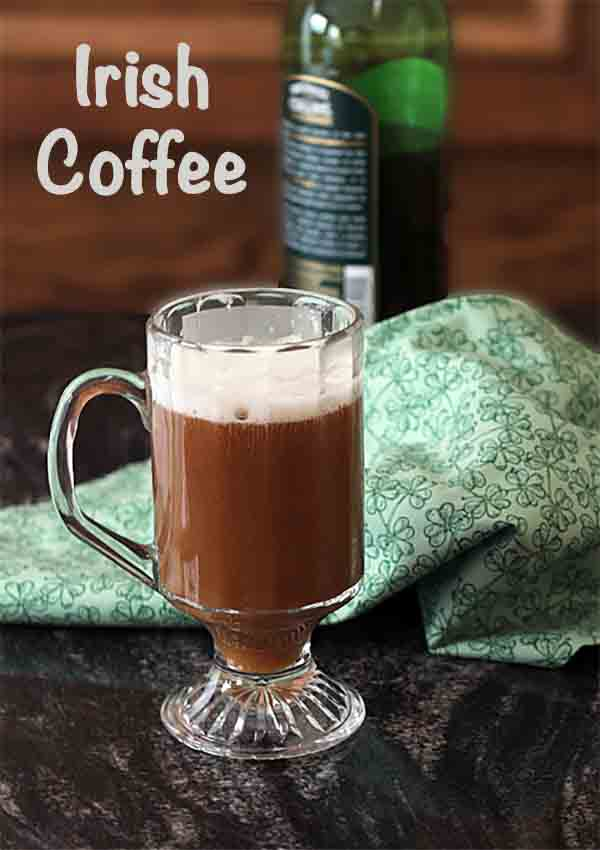 Irish Coffee is a tasty treat with hot coffee, whiskey and whipped cream. Perfect after dinner or reading by the fire