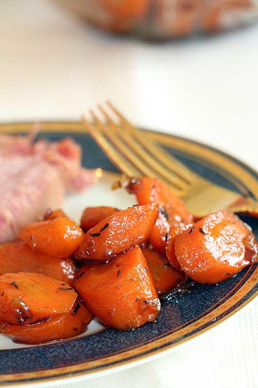 Maple Balsamic Glazed Carrots on plate