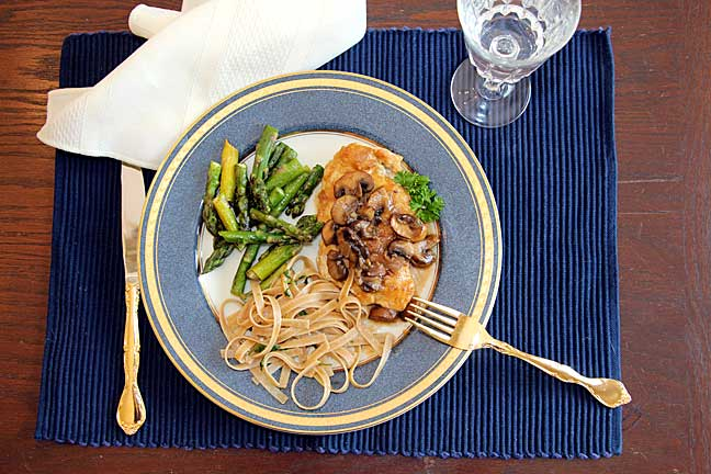 Chicken Marsala with asparagus and pasta