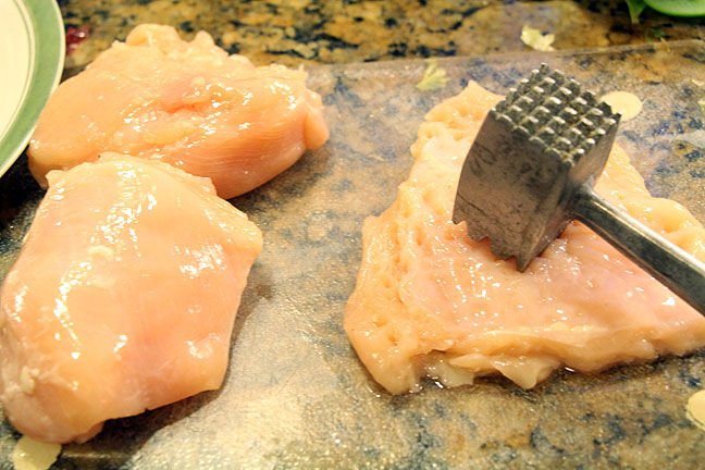 Pounding chicken breasts for chicken marsala