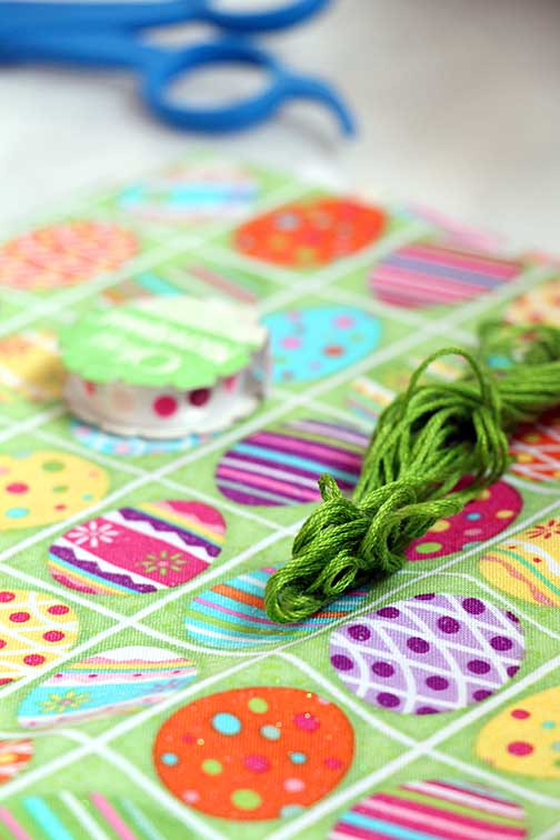 Easter Fabric and Tag Tie (Embroidery Floss)