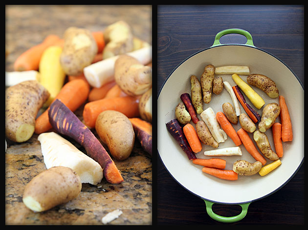 Carrots, parsnips and fingerling potatoes for chicken