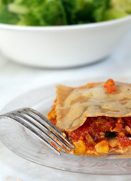 Southwest lasagna, closeup