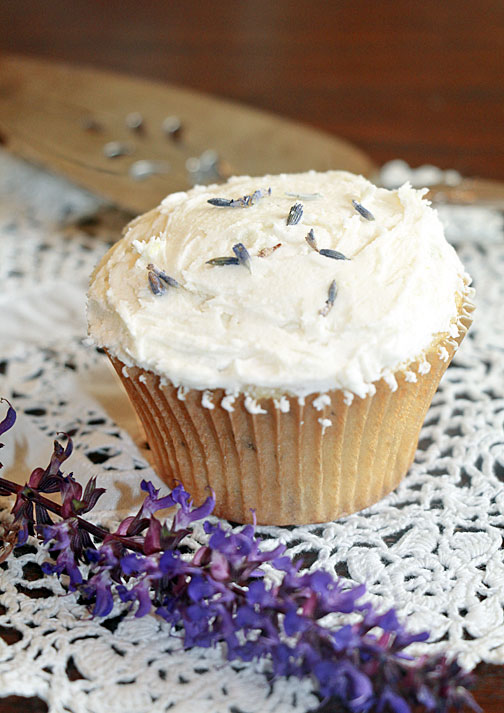 Cupcake with lavender buds