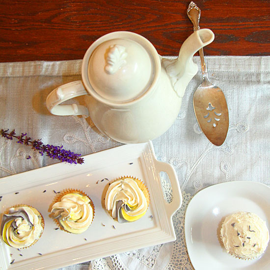 Lemon Lavender Cupcakes Served