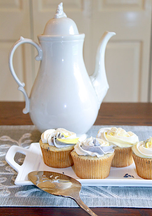 Lemon Lavender Cupcakes with Coffee