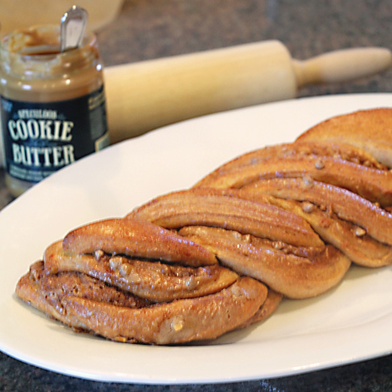 Speculoos Cookie Butter Braided Bread, Served