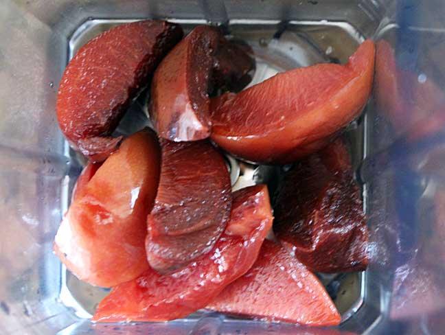 puree plums in blender
