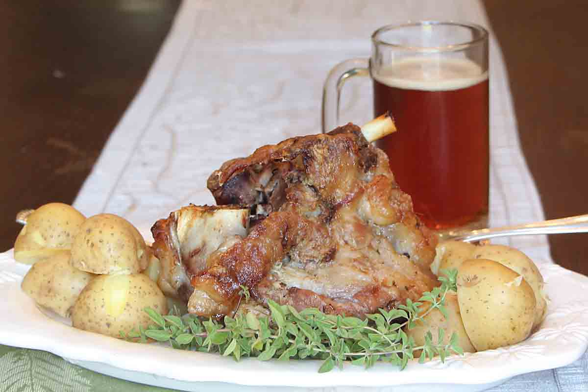 With fork tender meat and juicy crisp skin, this German Pork Hock recipe delivers a tasty dinner entree that's the best of the old country!