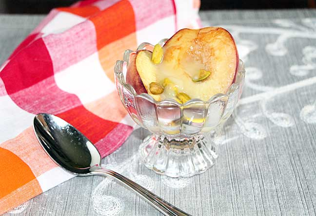 Baked Peaches with Mascarpone, Pistachios and Honey