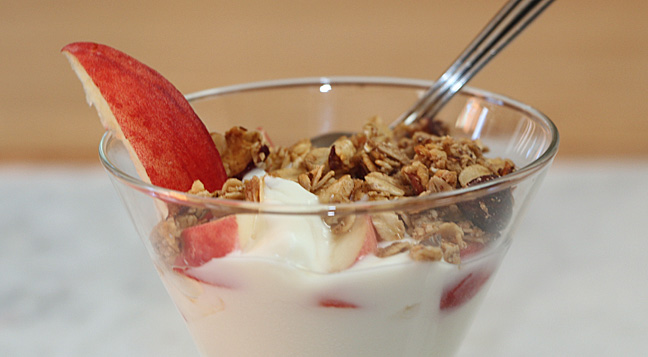 Top some yogurt with a little homemade peach granola