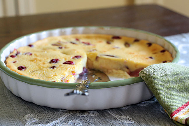 Peach Clafoutis with Cranberries
