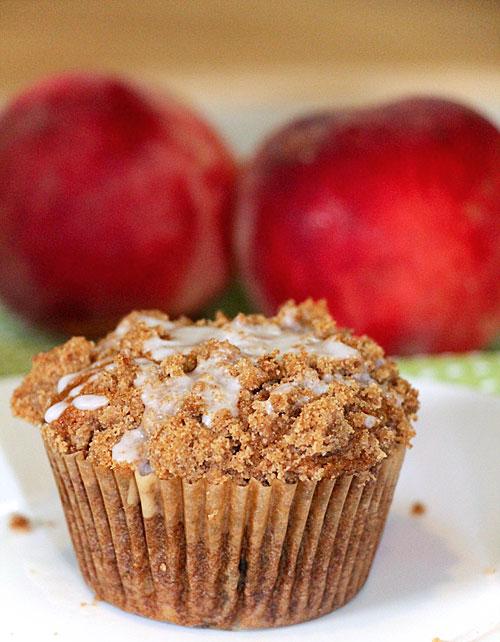Peach Streusel Muffins, up close