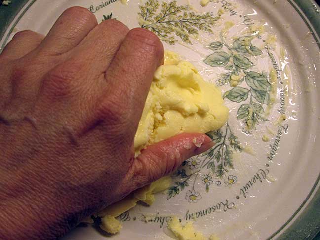 Kneading homemade  butter