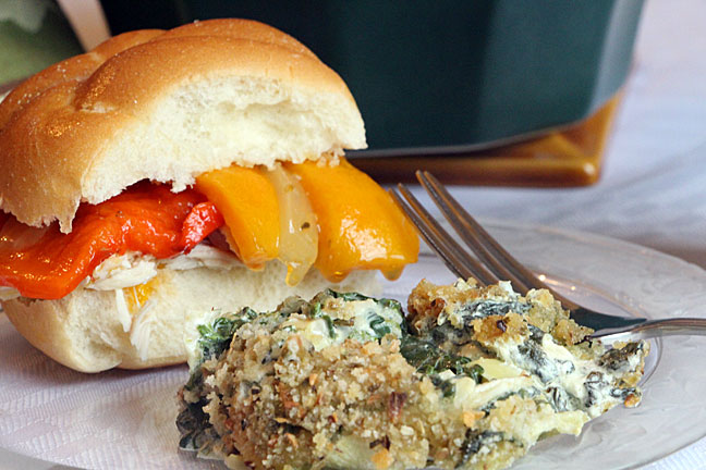 Creamy baked spinach with artichokes & turkey sandwich