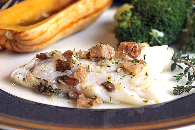 Cod Poached in Herb Butter, closeup