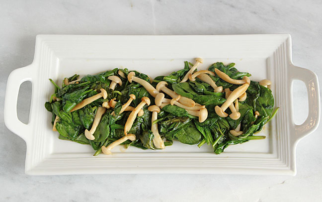Spinach with Asian Mushrooms, Served