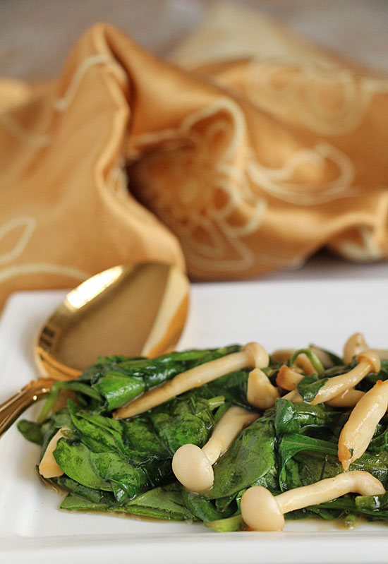 Spinach with Asian Mushrooms