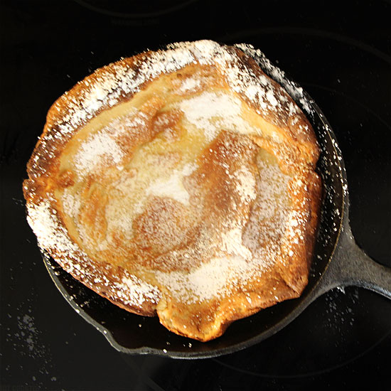 With a creamy, egg-y center & puffy, crisp exterior, a German Pancake (or Dutch Baby Pancake) is perfect for breakfast, brunch or dinner.