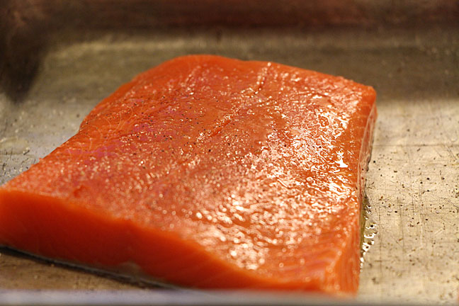 Salmon brushed with olive oil