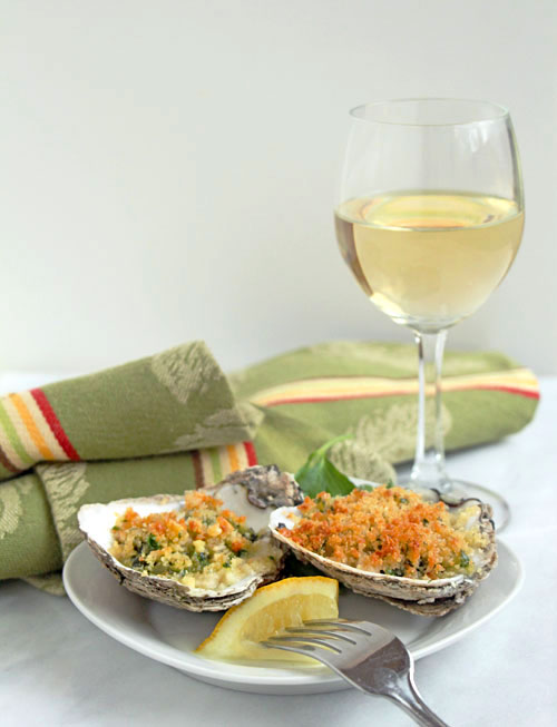 Oysters Rockefeller with Wine