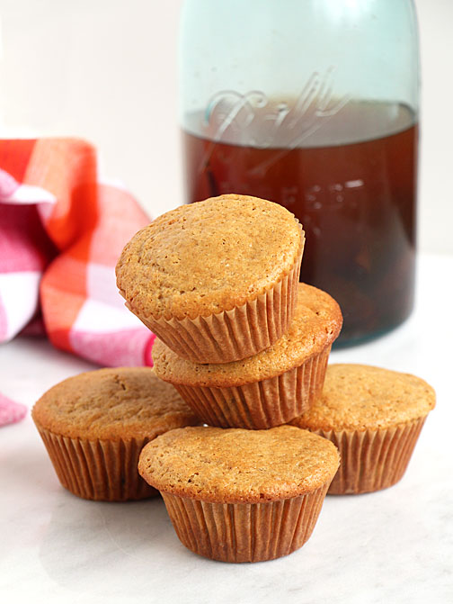 Vanilla Plum Muffins with Jar of brandy preserved plums