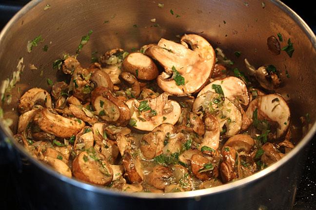 Sautee mushrooms for mushroom soup
