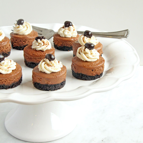 Mocha Mini Cheesecakes, Served