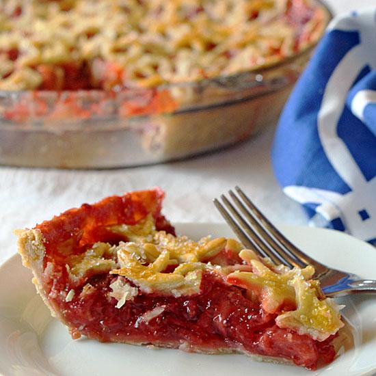 Strawberry Rhubarb Pie, served