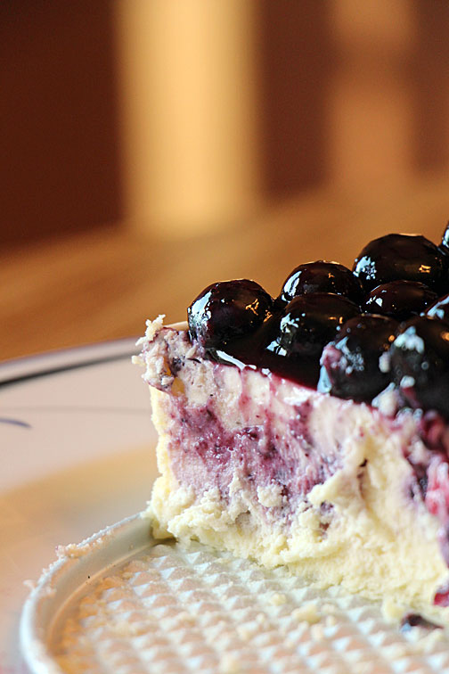 A piece of blueberry cheesecake (disappearing)
