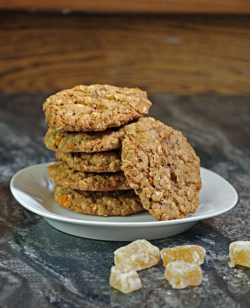Whole Grain Ginger Chunk Cookies, Stacked