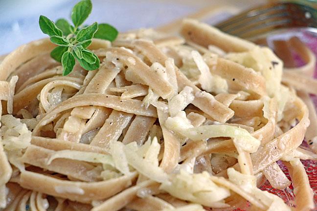 Sneaky Kohlrabi & Cheese Fettuccini, Closeup