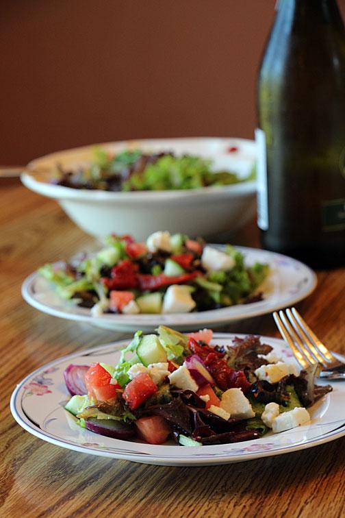 Serving Greek Salad
