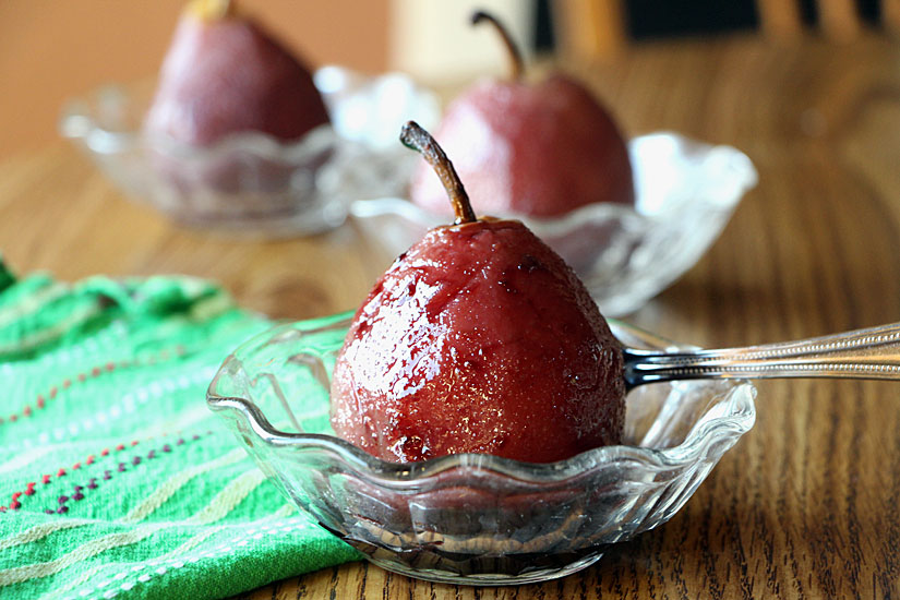 Spiced Wine Poached Pears