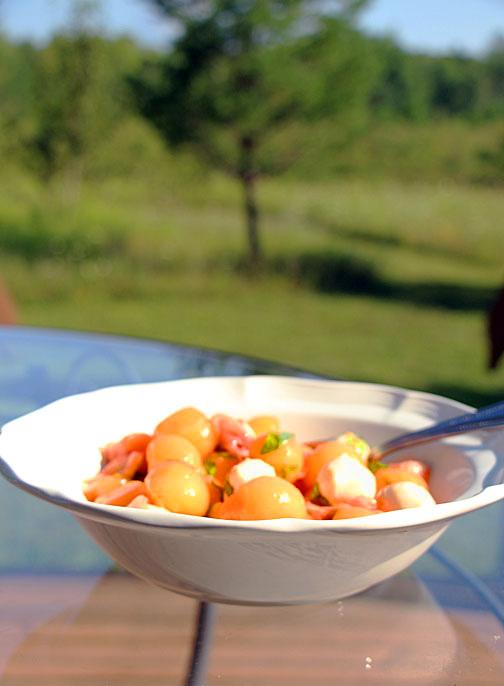 Cantaloupe Caprese Salad for Summer