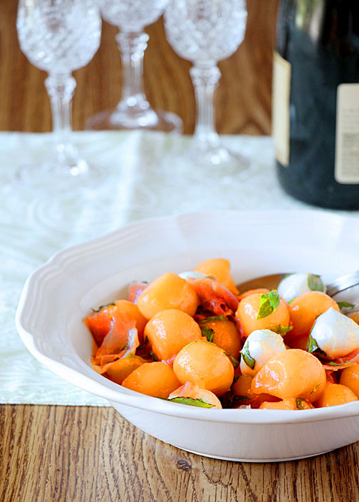 Cantaloupe Caprese Salad--Champagne brunch?