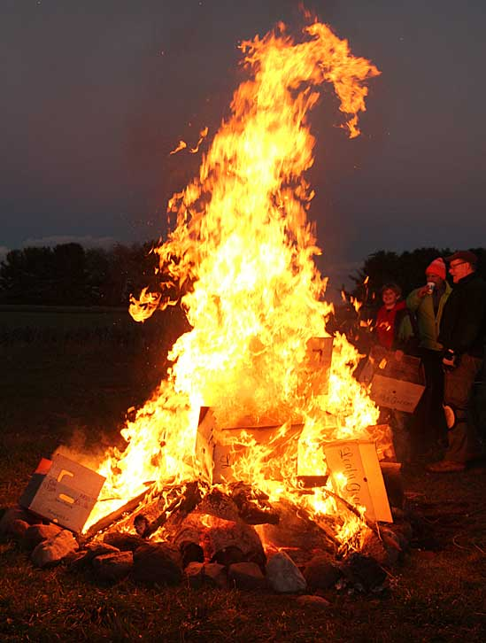 After dinner bonfire at Rare Earth Farm Annual Harvest Party