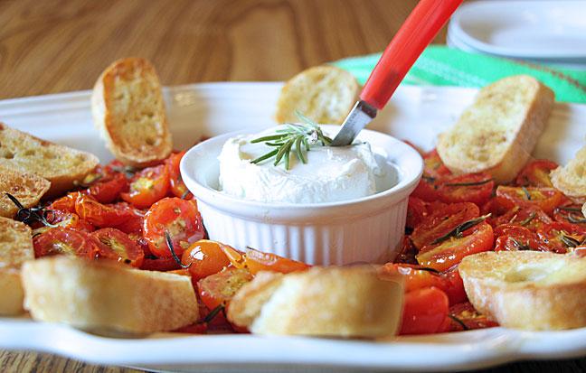 Rosemary, Tomato, Goat Cheese Bruschetta