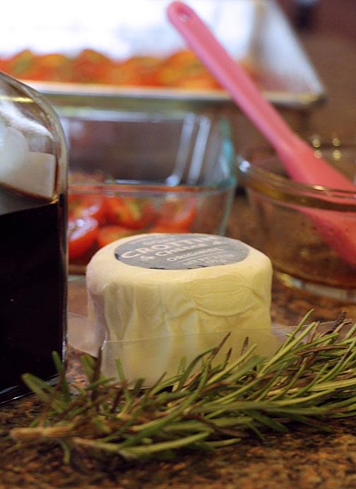 Rosemary Tomato and Goat Cheese Bruschetta Ingredients
