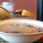 A bite of Russian Mushroom and Potato Soup