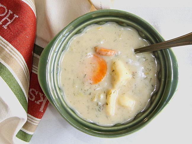 Russian Mushroom and Potato Soup--with carrots & leeks