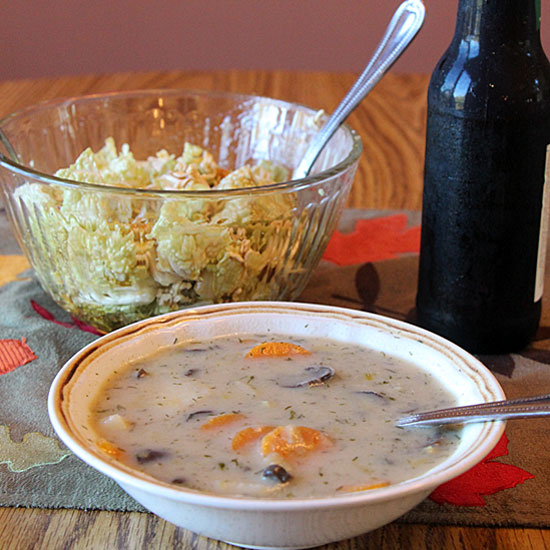 Russian Mushroom and Potato Soup, Served