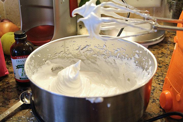 Beat meringue until stiff