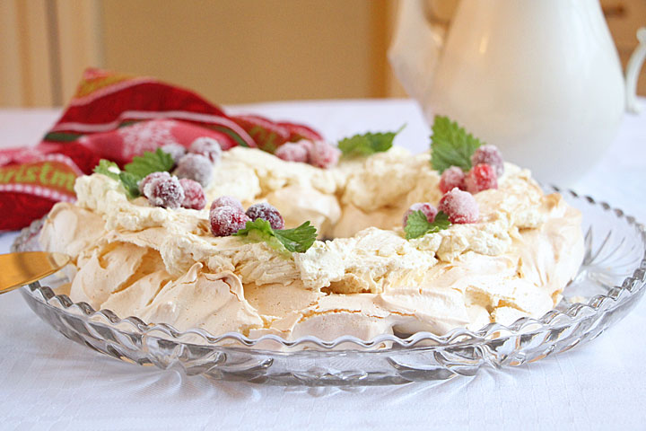 Pavlova Wreath decorated with sugared cranberries
